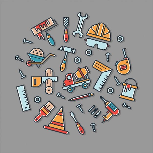 Kolorowy zestaw ikon narzędzie budowniczy