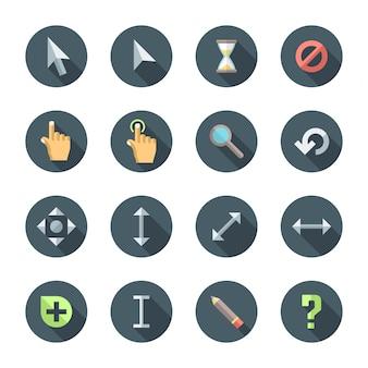 Kolorowy zestaw ikon różnych kursorów stylu płaski