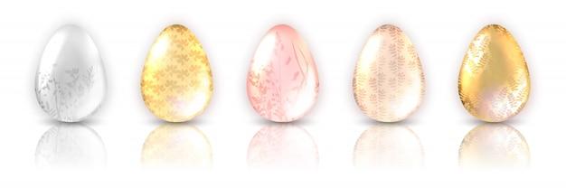 Kolorowy zestaw jajek z dekoracją rośliny i odbiciem