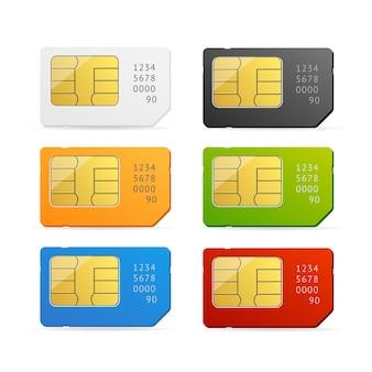 Kolorowy zestaw kart sim na białym tle.