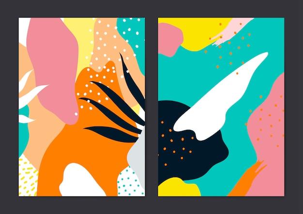 Kolorowy zestaw kart styl wektor memphis
