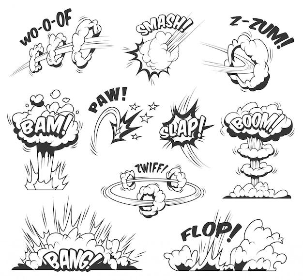 Kolorowy zestaw komiksów z różnymi sformułowaniami, wybuchowymi chmurami i efektami bomu