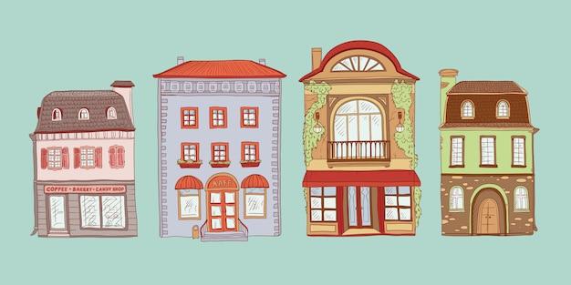 Kolorowy zestaw kontur szkic ilustracji zabytkowych domów europejskich. sklepy i kawiarnie w starych budynkach miejskich.