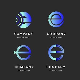 Kolorowy zestaw logo e gradientu