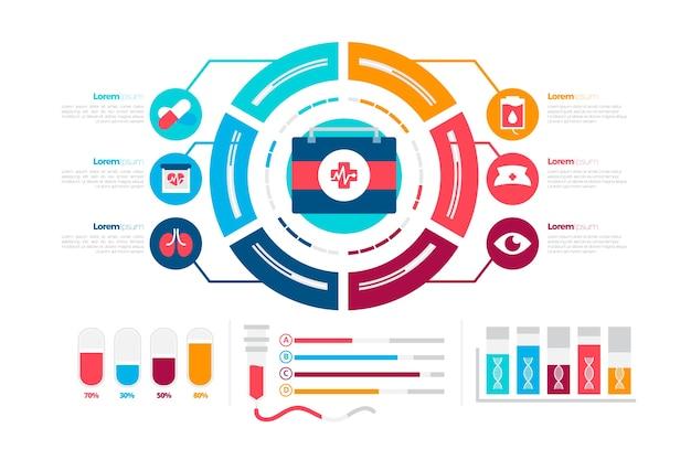 Kolorowy zestaw medyczny infographic