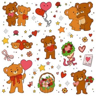 Kolorowy zestaw misiów miłości. wektor kreskówka walentynki kolekcja znaków