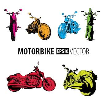 Kolorowy zestaw motocyklowy z sześcioma różnymi rowerami