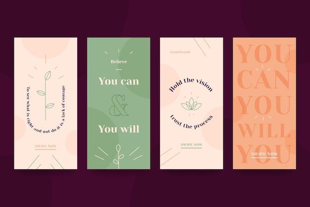 Kolorowy zestaw motywacyjnych cytatów opowiadań na instagramie