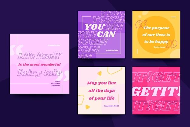 Kolorowy zestaw motywacyjnych cytatów post na instagramie