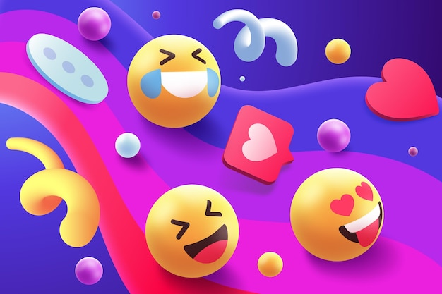 Kolorowy zestaw motywów emoji