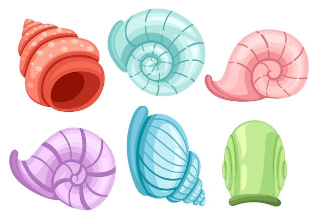 Kolorowy zestaw muszli ślimaków. różne kształty i kolory. znaleziska archeologiczne. ilustracja na białym tle