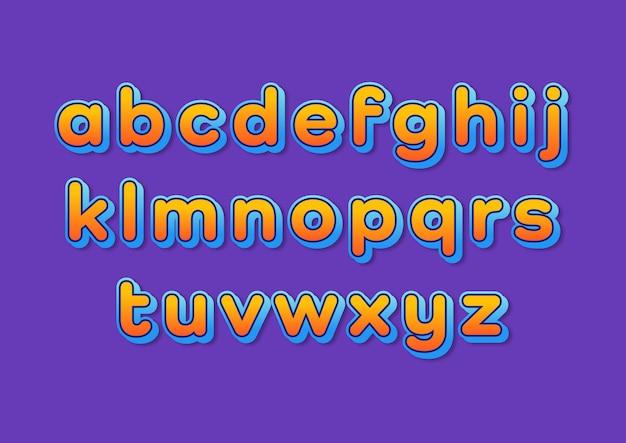 Kolorowy zestaw nowoczesny alfabet z zaokrąglonymi gradientami