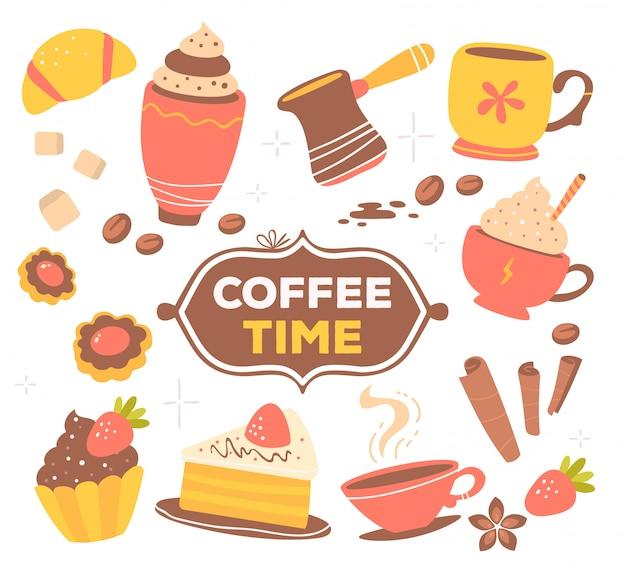 Kolorowy zestaw obiektów tematu kawy czerwony i żółty z tekstem w ramce na białym tle z gwiazdą.