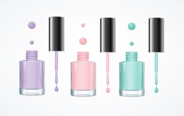 Kolorowy zestaw otwartych butelek lakieru do manicure i pedicure.