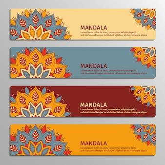 Kolorowy zestaw ozdobnych banerów z mandalą kwiatową w kolorach beżowym, niebieskim, winnym, pomarańczowym. vintage elementy dekoracyjne.