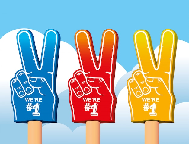 Kolorowy zestaw piankowej dłoni.
