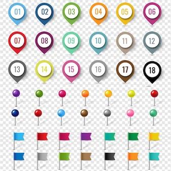 Kolorowy zestaw pinów lokalizacji na białym tle przezroczyste tło gradient mesh,