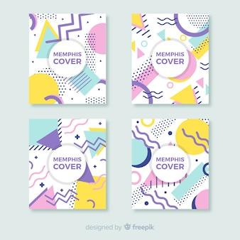 Kolorowy zestaw plakatów w stylu memphis