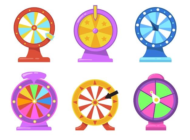 Kolorowy zestaw płaskich przedmiotów koło fortuny. kreskówka ruletka hazard ze strzałkami do kasyna internetowego na białym tle kolekcja ilustracji wektorowych. koncepcja loterii i nagrody