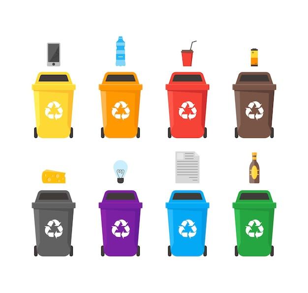 Kolorowy zestaw pojemników na śmieci z przykładami separacji i wykorzystania śmieci. oszczędność środowiska