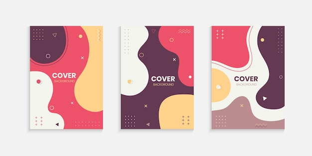 Kolorowy zestaw projektów okładek memphis