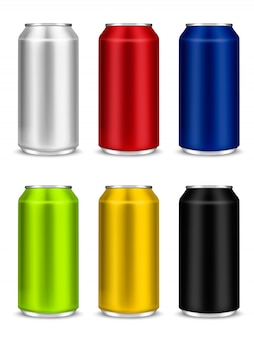 Kolorowy zestaw pustych aluminiowych puszek po piwie lub sody
