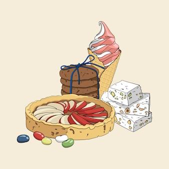 Kolorowy zestaw ręcznie rysowane słodycze.