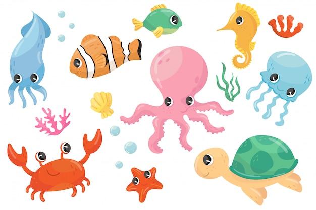 Kolorowy zestaw różnych stworzeń morskich. ryby rysunkowe, koniki morskie, żółwie, kraby, meduzy, ośmiornice, seastar, wodorosty. płaski element