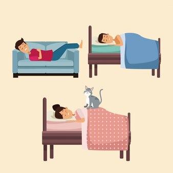 Kolorowy zestaw scen ludzie śpią w łóżku i kanapie