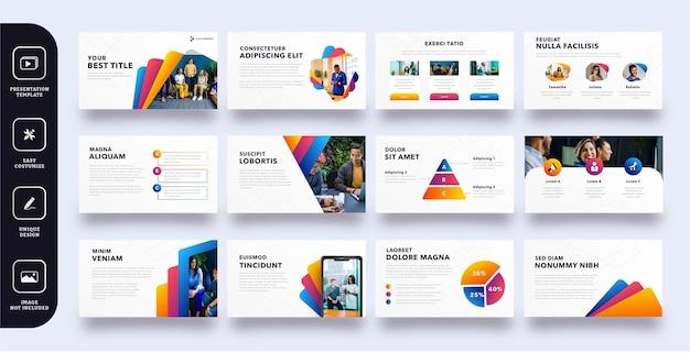Kolorowy zestaw stron slajdów biznesowych