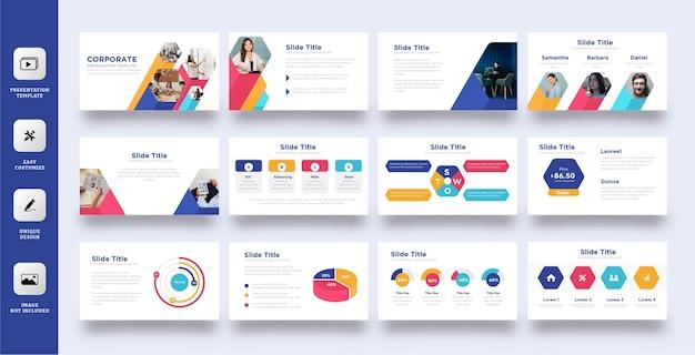 Kolorowy zestaw szablonów prezentacji biznesowych pięciokątnych
