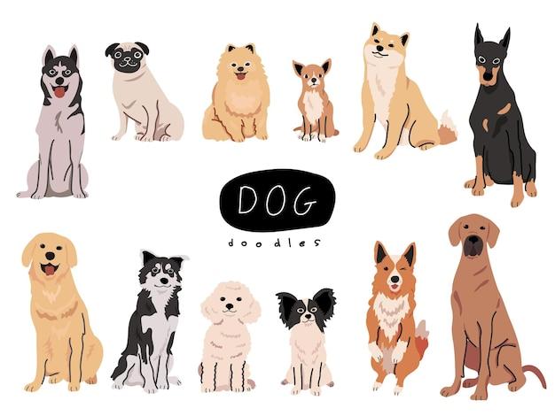 Kolorowy zestaw urocznych ras psów ręcznie rysowanych ilustracji