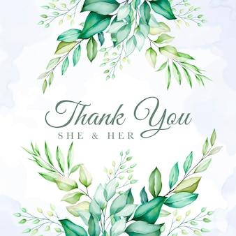 Kolorowy zielony kwiatowy dziękuję karty