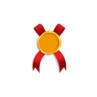 Kolorowy złoty żółty stempel woskowy z czerwoną wstążką pod spodem. realistyczny list vintage lub element dekoracji certyfikatu jakości, ilustracja