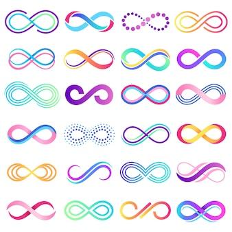Kolorowy znak niekończące się. symbol nieskończoności, nieograniczony pasek mobiusa i ilustracja możliwości nieskończonej pętli