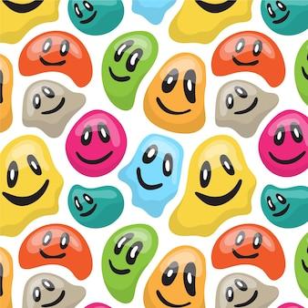 Kolorowy zniekształcony wzór emotikonów