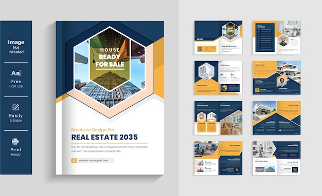 Kolorowy żółty i granatowy 16 stron układ szablonu broszury biznesowej nieruchomości