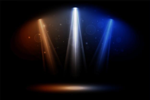 Kolorowych ostrości świateł reflektorów klubu tana przyjęcia tło