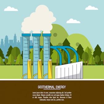 Koloru krajobrazowego tła geotermicznej energii produkci roślina