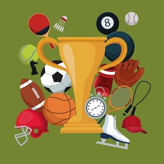 Koloru tło z złotymi trofeum filiżanki ikon elementów sportem