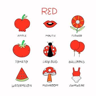 Kolory i słownictwo ustawione w języku angielskim