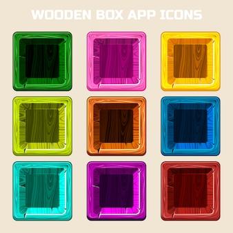 Kolory kwadratowe ikony aplikacji drewniane pudełko