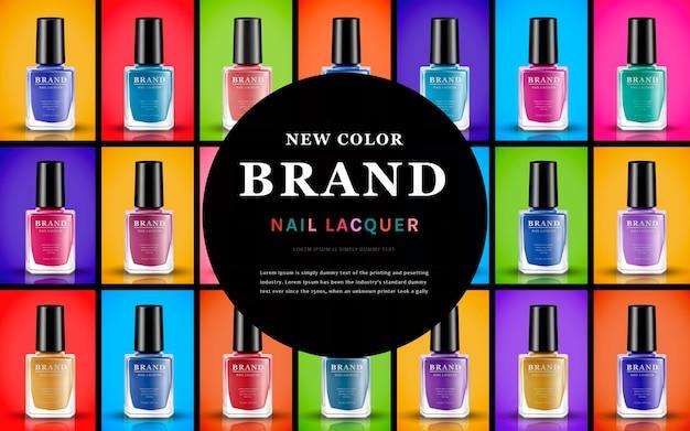 Kolory lakierów do paznokci zawartych w butelkach