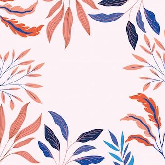 Kolory liści naturalnej dekoracji ramki