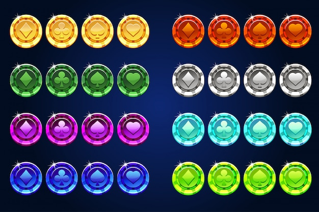Kolory pokera żetony, element gry zasobów