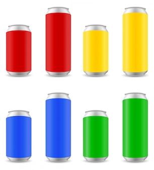 Kolory puszki piwa ilustracji wektorowych