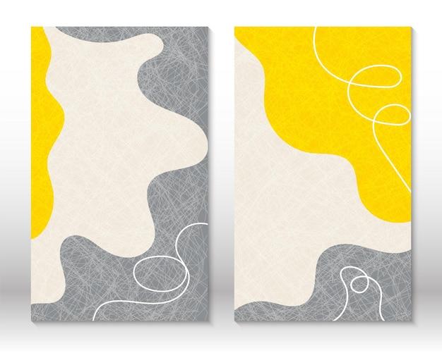Kolory żółty, szary. nowoczesne malarstwo abstrakcyjne. zestaw płynnych kształtów geometrycznych. abstrakcyjne ręcznie rysowane kształty efekt akwareli. projekt wystroju domu. druk sztuki nowoczesnej. współczesny design.