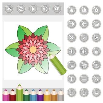 Kolorystyka kwiat mandali dla dorosłych gui i kolorowe kredki oraz guziki w kolorze szarym.
