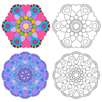 Kolorystyka mandali w stylu kwiatu 2 dla dorosłych dla względnej terapii.