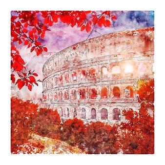 Koloseum rzym włochy szkic akwarela ilustracja